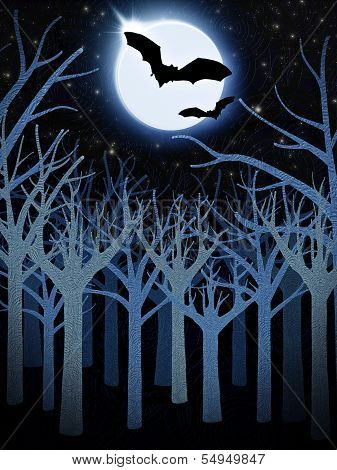 Blue Forest And Full Moon With Bats