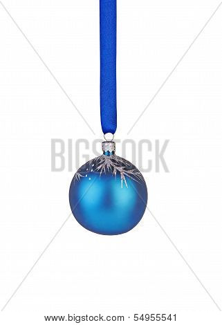 Christmas Decoration. Blue Ball With Ribbon Isolated On White