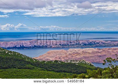 Croatian islands (Pag Vir Maun Olib Silba Premuda Ist Molat) aerial view from Velebit mountain poster