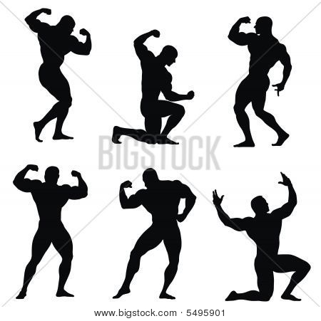 Abstract vector illustration of bodybuilders silhouettes  on white background poster