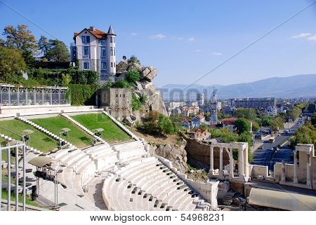 City of Plovdiv and the ancient theatre of Philippopolis
