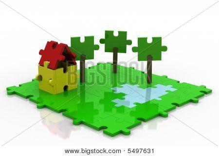 3D Puzzle Backyard Colorful