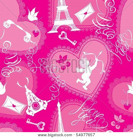Love Concept - Seamless Pattern With Lace Hearts, Cup Of Coffee, Croissant, Angel, Effel Tower, Retr