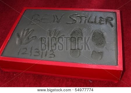 LOS ANGELES - DEC 3:  Ben Stiller Hand and Foot Prints at the Ben Stiller Handprint and Footprint Ceremony at Dolby Theater on December 3, 2013 in Los Angeles, CA