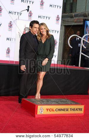 LOS ANGELES - DEC 3:  Ben Stiller, Christine Taylor at the Ben Stiller Handprint and Footprint Ceremony at Dolby Theater on December 3, 2013 in Los Angeles, CA
