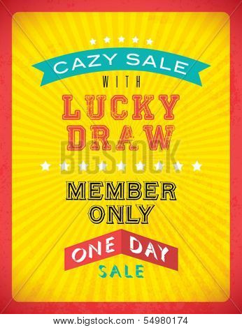 Vintage Retro Lucky Draw Typographic Background