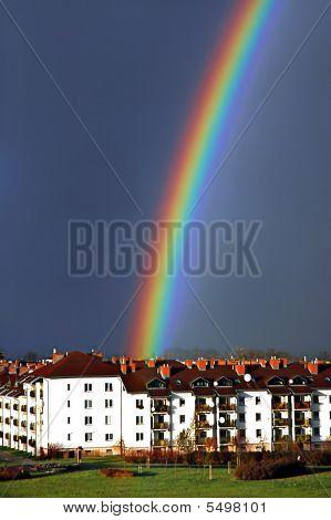 Beautiful Rainbow Above Housing Estate
