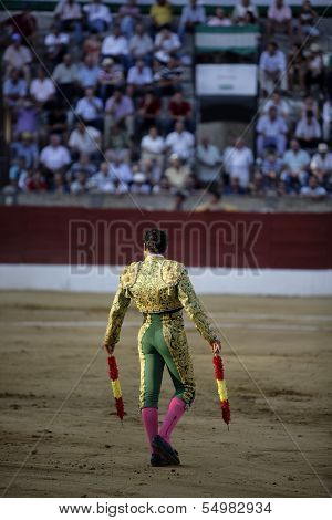 Banderillero in action, Baeza, Jaen province, Andalusia, Spain