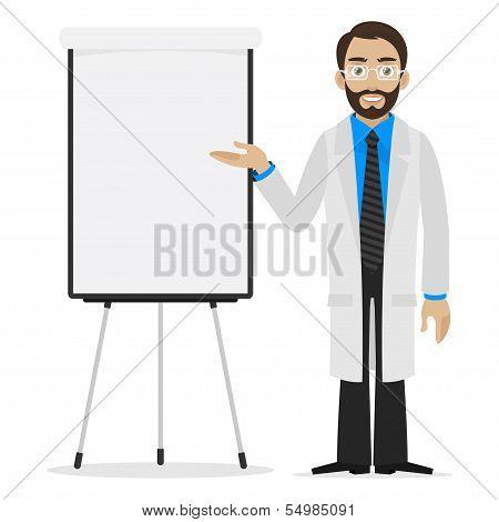 Scientist specifies on flipchart