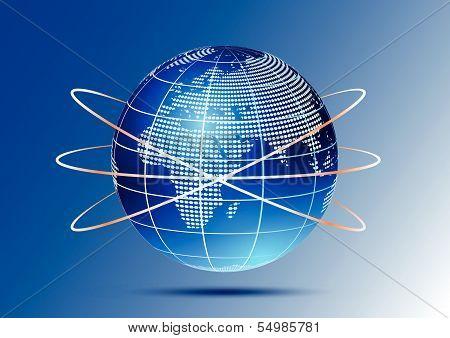 Globe with orbits