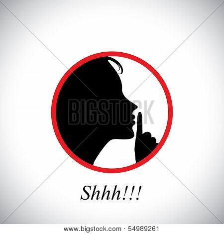 Young Woman Saying Shh & Gesturing Using Her Forefinger - Concept Vector