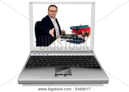 Businessman In Laptop, Notebook