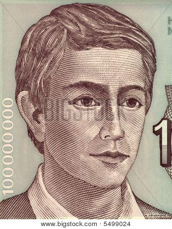 Young Man On 100000000 Dinara 1993 Banknote From Yugoslavia