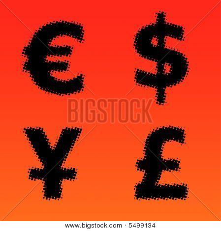 Halftone Vector Currency Symbols
