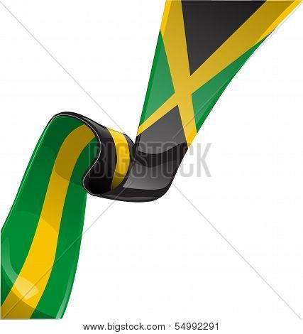 Jamaica Ribbon Flag Isolated On White