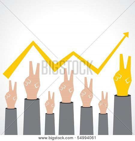 Victory hand make a business graph