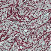 Seamless floral vintage monochrome doodle pattern with abstract feathers poster