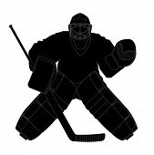 Vector illustration silhouette hockey goalie in protection poster