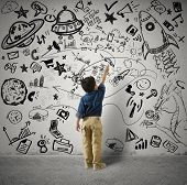 Concept of small genius with kid and varius drawings poster