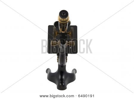 Antique Microscope Rear View - Isolated