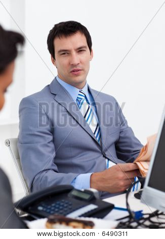 Portrait Of Business People Discussing