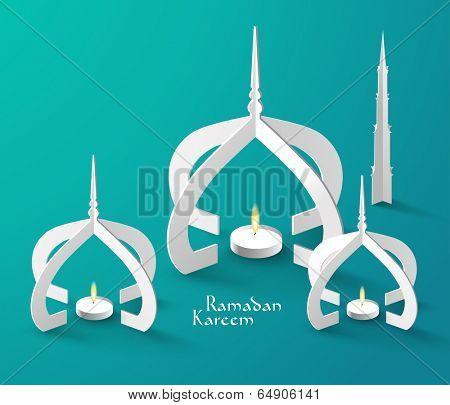 Vector 3D Muslim Paper Sculpture Oil Lamp. Translation: Ramadan Kareem - May Generosity Bless You During The Holy Month.