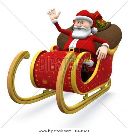 Santa Sitting In His Sleigh And Waving - With Clipping Path