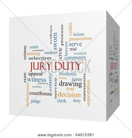 Jury Duty 3D Cube Word Cloud Concept