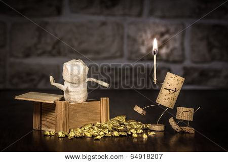 Wine Cork Figures, Concept Mummy In A Tomb