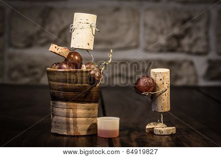 Wine Cork Figures, Concept Two Men Squeezing Grape Juice