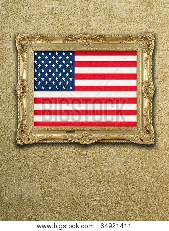 Flag from USA exposition in gold frame on textured wall poster