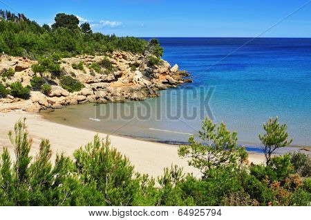 a view of Cala Forn beach in Ametlla de Mar, Spain