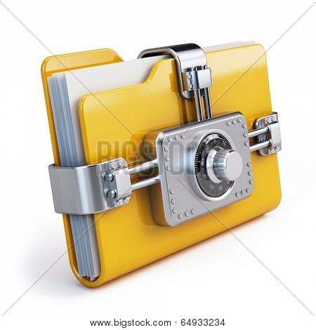Data security concept. Locked folder with combination lock