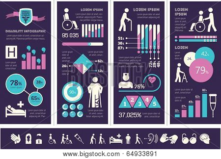 Flat Disability Infographics Elements plus Icon Set. Vector.
