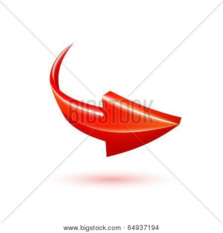 Curved red 3d vector arrow