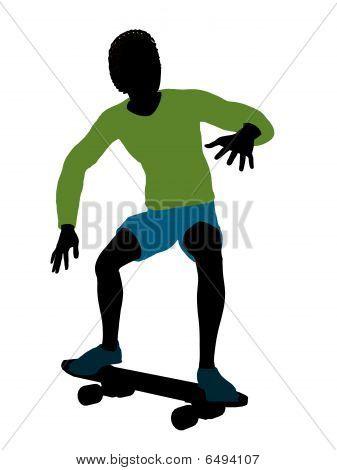 African American Skateboarder Silhouette