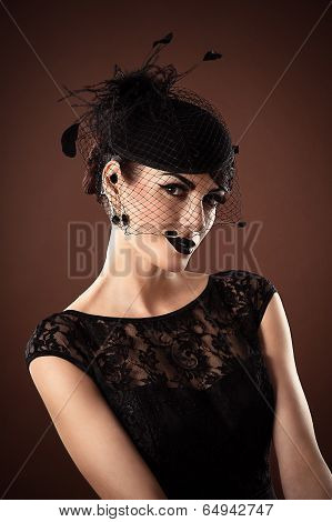 attractive retro woman with a veil