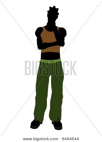 African american casually dressed silhouette on a white background poster