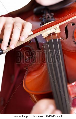 Girl Plays On Violin By Bow Isolated