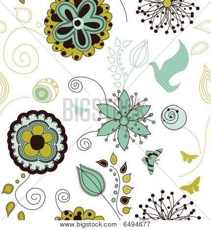 Seamless Retro Style Nature Pattern