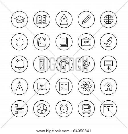 Education and learning flat thin line icons set modern vector collection of high school objects and college items teaching symbols and educational equipment. Isolated on white background. poster
