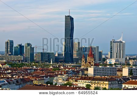 Vienna skyline at sunset, contrast between modern skycrapers and old style buildings