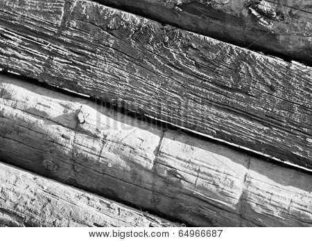 railway tie background in black and white