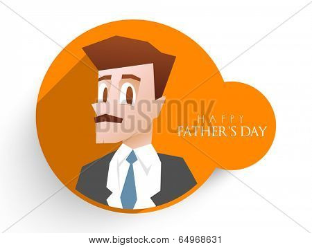 Happy Father's Day celebrations poster, banner or flyer design with illustration of a young man in suit and stylish text.