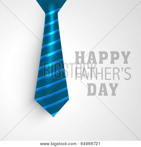 Happy Father's Day greeting card design with necktie on grey background.