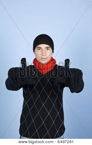 Young Man Fingers Frame Face