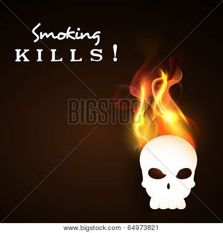 World No Tobacco Day poster, banner or flyer design with human skull in flame and stylish text Smoking Kills on brown background.