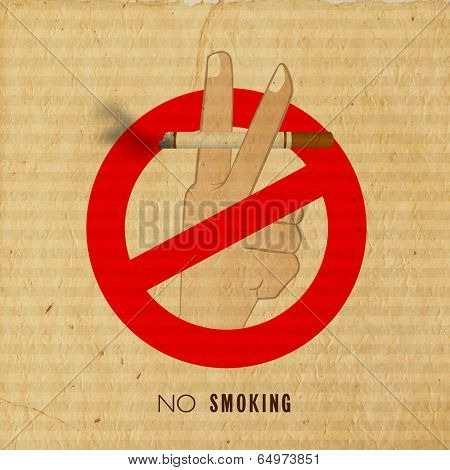 Vintage anti smoking poster, banner or flyer design with human hand holding a burning cigarette on grungy brown background.