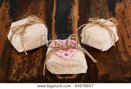 Three Brazilian Wedding Sweets Bem Casado On Wooden Table