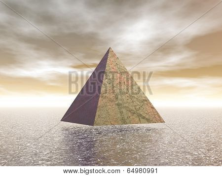 One mystical pyramid upon water in brown background poster